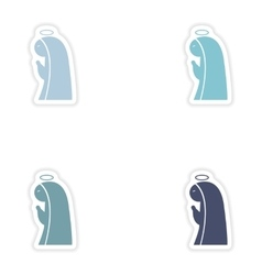Set of paper stickers on white background Virgin vector