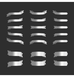 Set of silver ribbons on black vector