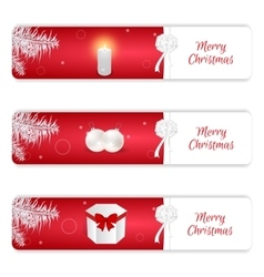 Set of three horizontal Christmas banner red and vector