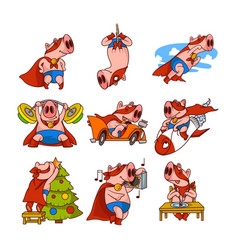 Set pig superhero in different actions vector