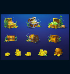 set wooden chests and a bag vector image