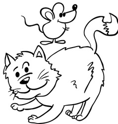 simple black and white cat and mouse cartoon vector image