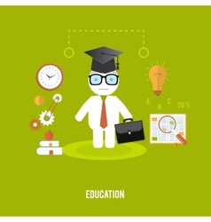 Student with cases goes to school vector image