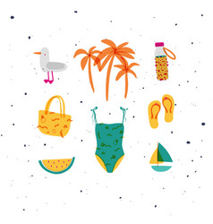 summer elements set seagull swimsuit slippers vector image