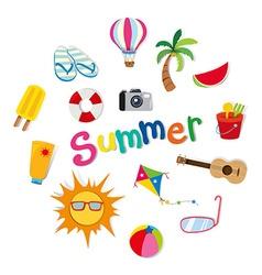Summer theme with food and objects vector