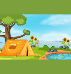 Tent next to pond vector