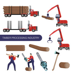 Timber processing industry special equipment and vector