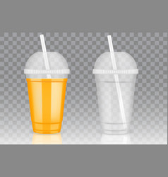 transparent disposable plastic cup mockups vector image