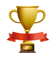 trophy cup with blank ribbon banner vector image