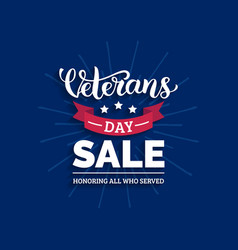 Veterans day sale lettering with ribbon vector