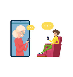 video call to parents daughter and mother talking vector image