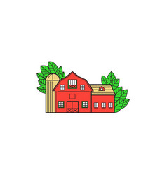 Vintage american barn leaves mono line vector