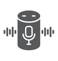 Voice assistant glyph icon technology and vector