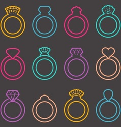 Wedding ring icons vector image