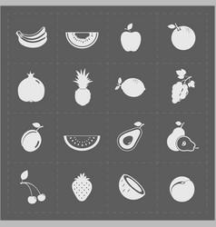 White fruit icon set on grey background vector