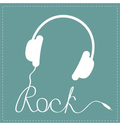 White headphones with cord in shape of word rock vector