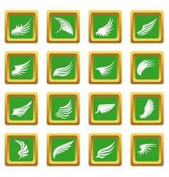 Wing icons set green vector