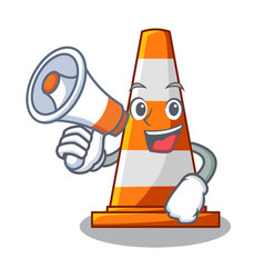 With megaphone traffic cone on road cartoon shape vector