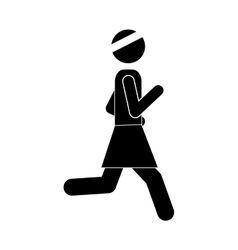 Woman running icon vector