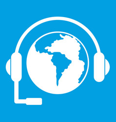 world planet and headset icon white vector image