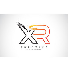 xr creative modern logo design with orange and vector image