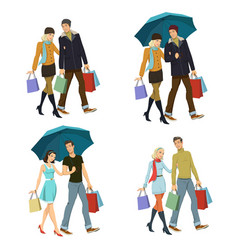 Young couple with shopping vector