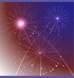 fireworks background with american flag colors and vector image vector image