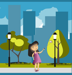 flat girl with phone selfie in park vector image