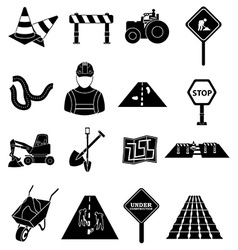 Road construction icons set vector image vector image