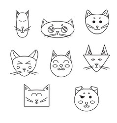 set of cat muzzle linear vector image