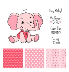 Baby girl elephant design with seamless patterns vector image vector image