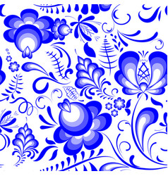 blue floral seamless pattern in russian style vector image