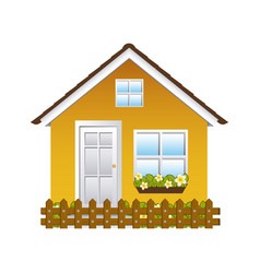 comfortable yellow facade house with garden and vector image