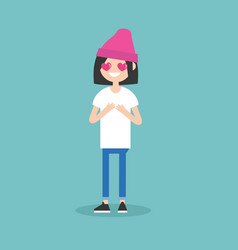 cute cartoon girl with heart-shaped eyes falling vector image vector image