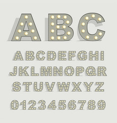 font with lamps on gray background vector image vector image