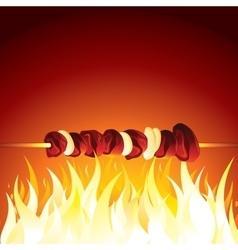 Grill shish kebab prepared on hot flame vector
