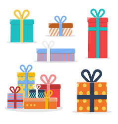 set of different colorful gift boxes vector image