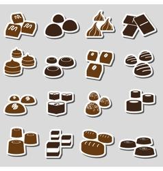 Sweet chocolate truffles styles stickers set eps10 vector