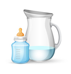 baby milk bottle and jug with liquid on white vector image