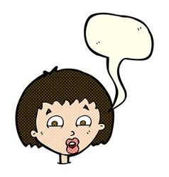 cartoon shocked expression with speech bubble vector image vector image