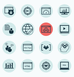 set of 16 advertising icons includes security vector image vector image