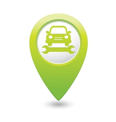 car service icon on green pointer vector image vector image