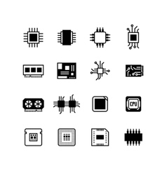 Computer electronic chips motherboard hardware vector image