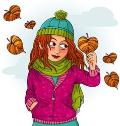 girl in autumn vector image vector image