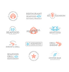 set of retro vintage fish and seafood logo or vector image