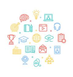 symbol of education online color round design vector image vector image