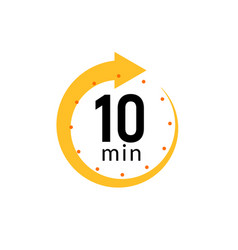 10 minutes clock quick number icon 10min time vector image