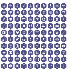 100 recreation icons hexagon purple vector