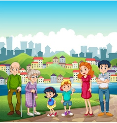 A big happy family standing at the riverbank vector image