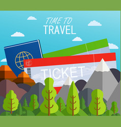 Airplane tickets with passport travel concept vector